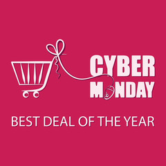 Cyber Monday. BEST DEAL OF THE YEAR. Sale. Background for Good Deal Promotion. Banner Cyber Monday and a shortcut for the website. A mouse for a PC with a shopping basket on a red background.
