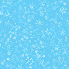 Christmas abstract background from white snowflakes on blue. Seamless pattern for design cards, posters, greeting for the new year.