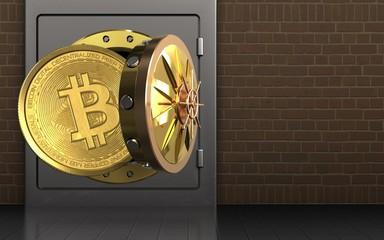 3d bitcoin over bricks