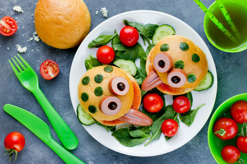 Funny sandwiches for children, animal shaped sandwich like a frog