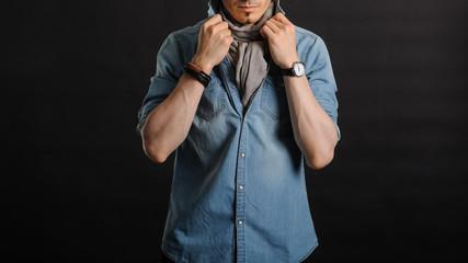 Close up portrait of stylish and elegant young fashion man
