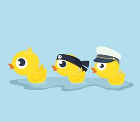 Cute Ducks swim