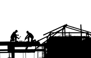 silhouette construction worker on white background