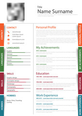 Professional resume cv with colored design stickers template