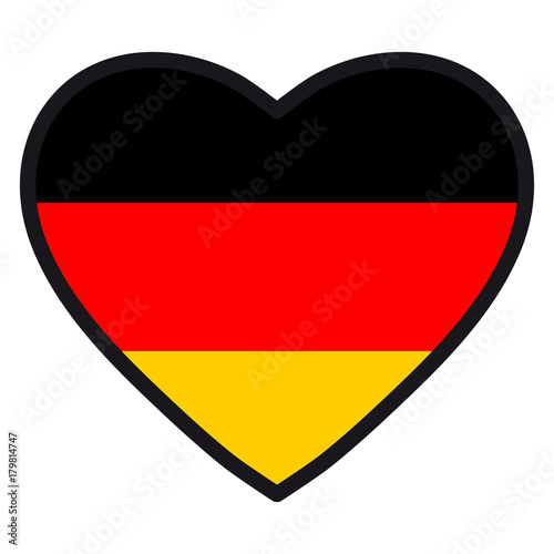 Flag Of Germany In The Shape Of Heart With Contrasting Contour