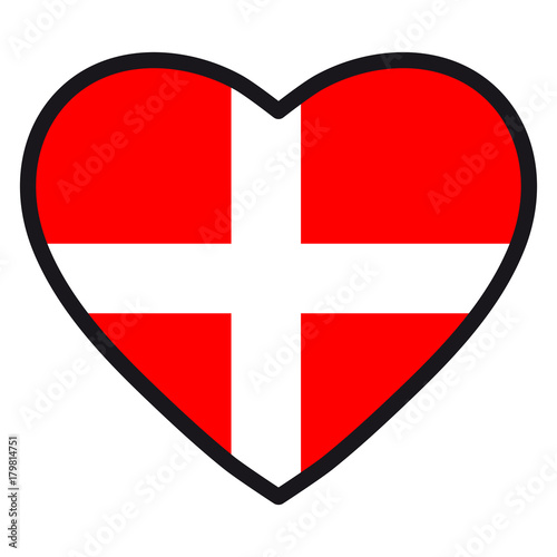 Flag Of Denmark In The Shape Of Heart With Contrasting Contour