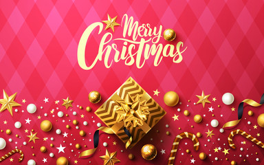 Christmas and New Years background with golden gift box,ribbon and christmas decoration elements for Retail,Shopping or Christmas Promotion.