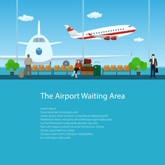 Waiting Room at the Airport with Passengers, View on Airplanes through the Window, Travel and Tourism Concept, Poster Brochure Flyer Design, Vector Illustration