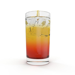Glass Of Cold ice lemon tea Drink on white. 3D illustration