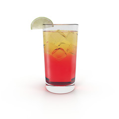Glass of Ice Punch with Lime on white. 3D illustration