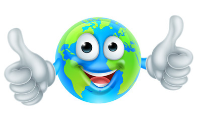 Cartoon Character World Earth Day Thumbs Up Mascot