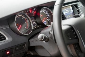 Interior of the car, steering wheel