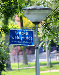 Sign for prohibition to use alcohol and drugs in public area in Zuidplas, Netherlands