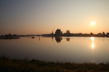Sunrise on the river Hollandse IJssel in the Netherlands