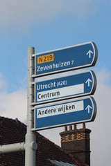 Direction sign on street in Nieuwerkerk aan den IJssel
