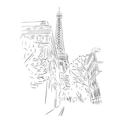 View of  Eiffel Tower from streets of Paris, France. Black and white vector sketch. Hand drawn vector illustration