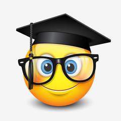 Cute smiling emoticon wearing mortar board and eyeglasses, , emoji