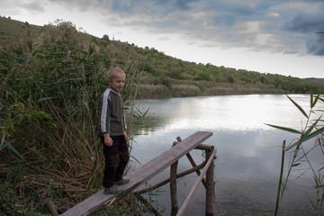 autumn boy lake