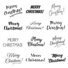 Merry Christmas greetings vector overlay set, hand lettering collection of various fonts, black and white text on white background