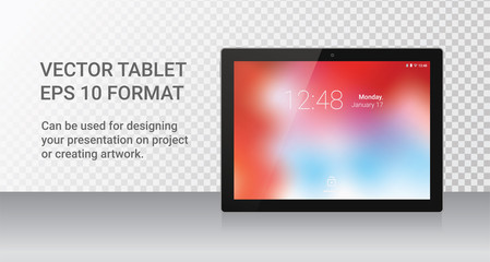 Realistic Tablet Device with Black frame Isolated on light Background. Colorful wallpaper on screen. Tablet render with reflection. Concept device. Vector Illustration. EPS 10.