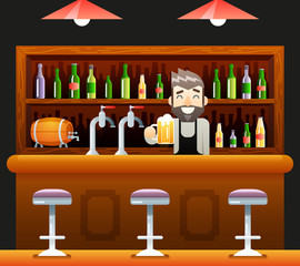 Barkeeper Pub Bar Restaurant Cafe Symbol Alcohol Beer House Interior Icon Background Concept Flat Design Template Vector Illustration