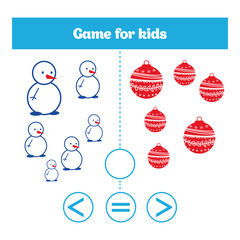 Education logic game for preschool kids. Choose the correct answer. More, less or equal Vector illustration. Christmas Xmas and New Year holidays design.