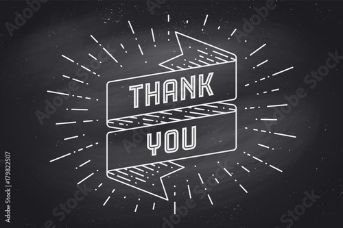 Ribbon Banner With Text Thank You Sunburst Chalk Graphic On Chalkboard