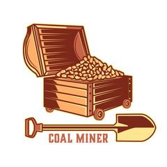 Vintage emblem of the mining industry