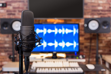 condenser microphone in digital recording, broadcasting studio background