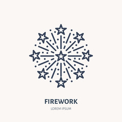 Fireworks line icon. Vector logo for event service. Linear illustration of new year firecrackers, salute.