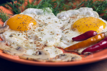 Fried two eggs with champignons, dill and red chili pepper