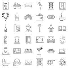 Parking icons set, outline style