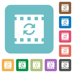 Restart movie rounded square flat icons