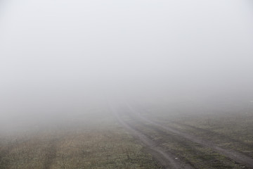 Fog in the morning at the outskirt of town