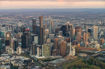 Aerial view of the Melbourne central business district in Australia