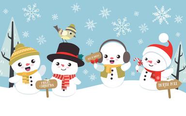 Winter Christmas scene with cute little snowman flat design