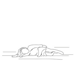 sketch of a child lying vector, isolated