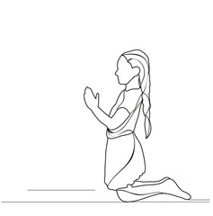 sketch of little girl praying vector, isolated