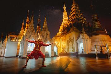 Giant Ramayo with Shwedagon Pagoda in background
