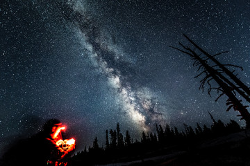 Spectacular view of the Milky Way on the night sky in the Yellowstone NP. Photographer with a red lantern prepares equipment for the photography (blurred foreground). Selective focus on the starry sky
