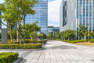 empty road floor with cityscape in Shanghai, China.