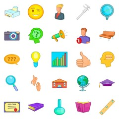 Research project icons set, cartoon style