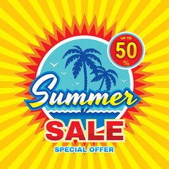 Summer sale - vector concept banner illustration in flat style. Special offer creative badge layout with palms, sea wave, sun. Abstract advertising promotion sticker. Design element.