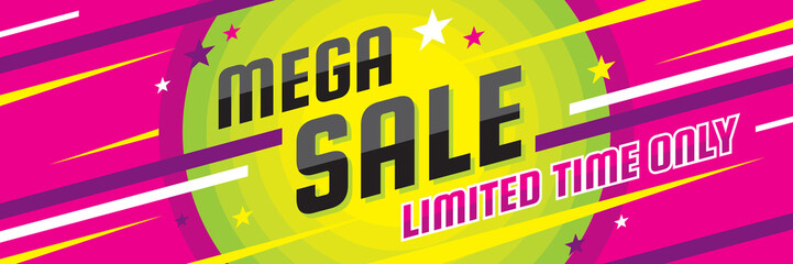 Mega sale discount - vector layout concept illustration. Abstract horizontal advertising promotion banner. Creative background. Special offer. Graphic design elements.
