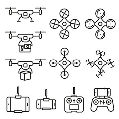 Flying drone flat line style icons on white background. Quadcopter sings isolated set.