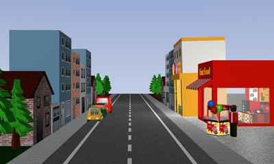 Straßenansicht mit Geschäften, Häusern, Autos und Popcorn Stand.
