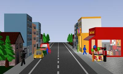 Belebte Straßenansicht mit Geschäften, Häusern, Autos und Popcorn Stand.