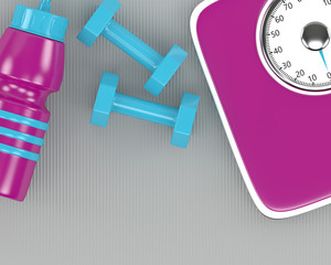 3d rendering of dumbbells, scale and gym shaker on fitness mat