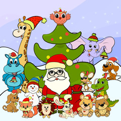 Animals and Santa Claus on Christmas Day