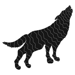 Black silhouette of wolf with white meandering lines